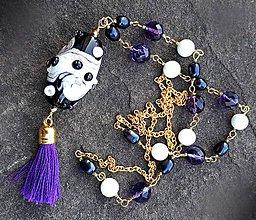 Náhrdelníky - Violet- dlhý náhrdelník s fialovým strapcom - 10376157_