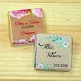 Darčeky pre svadobčanov - Svadobné čokoládky Kvetinky kraft - 10378503_