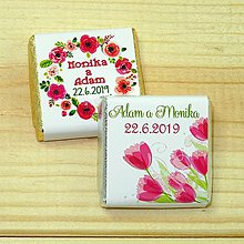 Darčeky pre svadobčanov - Svadobné čokoládky Kvetinky I - 10378515_