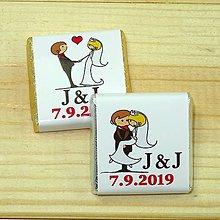 Darčeky pre svadobčanov - Svadobné čokoládky Zaľúbení - 10378520_