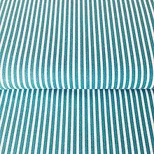 Textil - úzke pásiky, 100 % bavlna Francúzsko, šírka 140 cm (Tyrkysová) - 10375127_