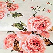 Textil - svetloružové ruže, 100 % bavlna, šírka 140 cm - 10375152_