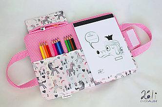 Detské tašky - Detský kufrík - pastelkovník Jednorožce na bielom - 10377273_