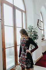 Šaty - Čierne vyšívané šaty Slavianka - 10378408_
