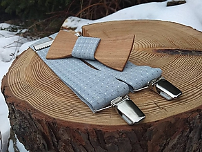 Doplnky - Pánsky drevený motýlik a traky - 10375534_