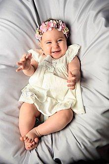 Detské doplnky - Kvetinová čelenka ružová neha - 10376359_