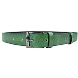 Doplnky - Zelený kožený opasok so vzorom, 3cm, ručne melírovaný a dezenovaný - 10377711_