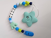 Detské doplnky - Silikonova reriazka s menom babatka a mini hryzatkom - aj klip uplne BEZ KOVU - 10375904_