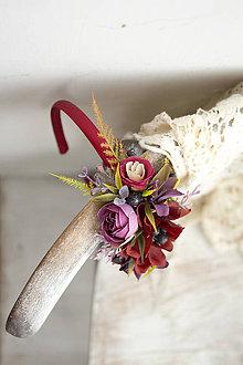 Ozdoby do vlasov - Kvetinová čelenka ,,bordová,, - 10375460_
