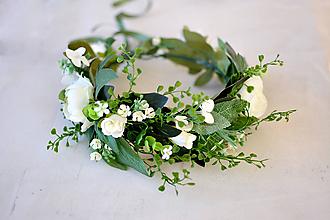 Ozdoby do vlasov - Bohatý greenery svadobný venček - 10378091_