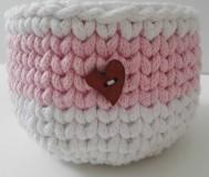 - Háčkovaný košík ružový - 10375330_
