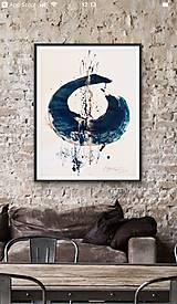 Obrazy - Indigo calligraphy - 10375644_