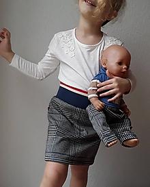 Detské oblečenie - Károvaná sukňa (čiernobiely vzor glenček s jemným modrým prúžkom) - 10376744_
