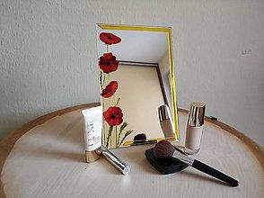 Zrkadlá - Zrkadlo sklomaľba maky - 10375778_