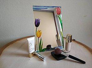 Zrkadlá - Zrkadlo sklomaľba tulipány - 10375809_