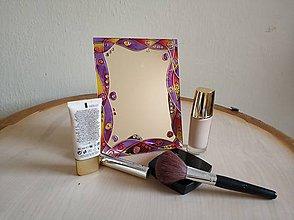 Zrkadlá - Zrkadlo sklomaľba fialové - 10375955_