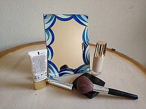 Zrkadlá - Zrkadlo sklomaľba modré - 10375969_