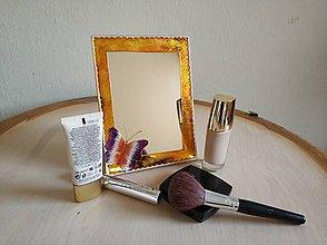 Zrkadlá - Zrkadlo sklomaľba zlaté - 10375979_