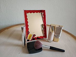 Zrkadlá - Zrkadlo sklomaľba červené - 10376032_