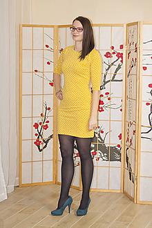 Šaty - Hořčicové šaty s kapkami S/M - 10378161_
