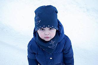 Detské čiapky - Obojstranná detská čiapka s nákrčníkom Námorník - 10375415_
