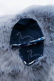 Detské čiapky - Obojstranná detská čiapka s nákrčníkom Maskáč dino - 10375465_