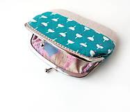 Peňaženky - Peňaženka XL Tyrkysová geometrický vzor - 10374951_