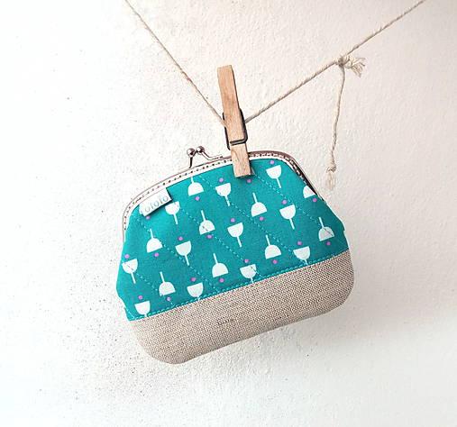 Peňaženka XL Tyrkysová geometrický vzor