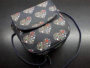Veľké tašky - Crossbody Folk kabelka (Folk srdiečka) - 10381769_