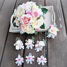 Kytice pre nevestu - Svadobná sada pastelová, kytica s pierkami - 10381542_