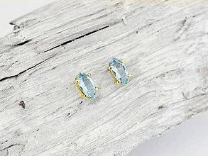 Náušnice - 585/14k zlaté náušnicé s prírodným modrým topásom - 10381317_