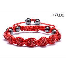 Náramky - shamballa náramok červeno-červený - 10378783_