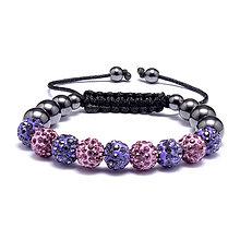 Náramky - LUX shamballa náramok fialový - 10378788_