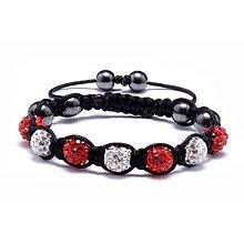 Náramky - LUX shamballa náramok bielo-červený - 10378790_