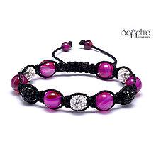 Náramky - polodrahokamový shamballa náramok ružoý - 10378823_