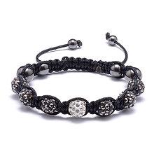 Náramky - LUX shamballa náramok gray diamond - 10378853_