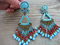 Náušnice - Hippie collection Turquoise/Bronze - fringe...soutache - 10381354_