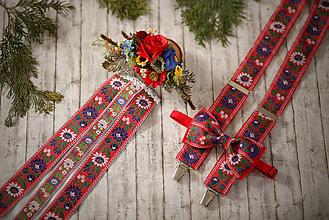 Ozdoby do vlasov - Svadobný/spoločenský set folk traky a extra vystužený motýlik, polvenček a hrebienok so stuhami - 10381569_