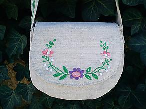 Kabelky - Ľanová kabelka ručne vyšívaná - 10381538_