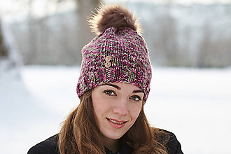 Čiapky - Fialovo-zelená čiapka - 10380508_
