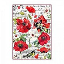 Papier - Ryžový papier Stamperia A4 -BOTANIC POPPY - 10381484_