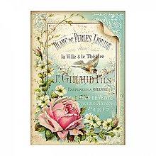 Papier - Ryžový papier Stamperia A4 -PINK LETTER AND BIRD - 10382014_