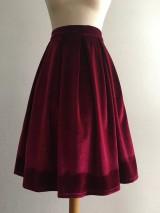 Sukne - zamatová sukňa bordová - 10380720_