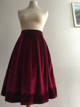 Sukne - zamatová sukňa bordová - 10380722_