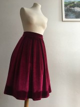 Sukne - zamatová sukňa bordová - 10380741_