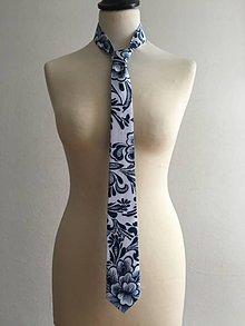 Doplnky - pánska kravata Modrotlač naopak - 10379345_