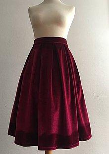 Sukne - zamatová sukňa bordová - 10380717_