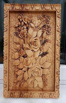 Obrazy - Drevorezba kytica kvetov - 10381812_