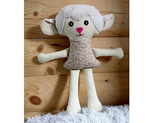 Nádherná mojkacia hračka Ovečka OVKA a Baranček BARY (Béžová ovečka bez sukienky)