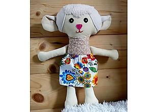Hračky - Nádherná mojkacia hračka Ovečka a Baranček (Béžová ovečka so sukienkou (farba sukienky podľa vlastného výberu z dostupného vzorkovníka)) - 10380498_